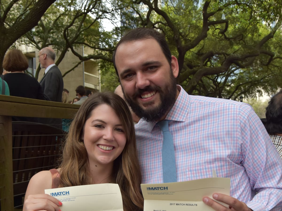 Niki and William Jackson, who met and married while at McGovern Medical School, celebrated their successful couples match