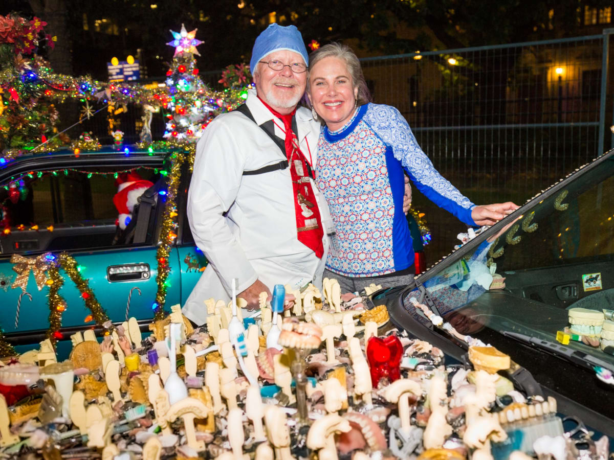 """Rex Rosenberg of Great Bend, Kansas, brought his entry """"Chew Baru"""" and posed with local dentist Kathleen Collins DDS during The Legendary Art Car Ball"""