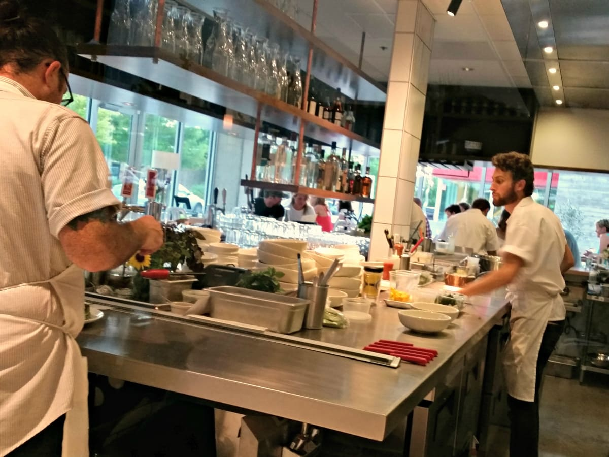 L'Oca D'Oro Austin restaurant Italian interior open kitchen cooks chefs