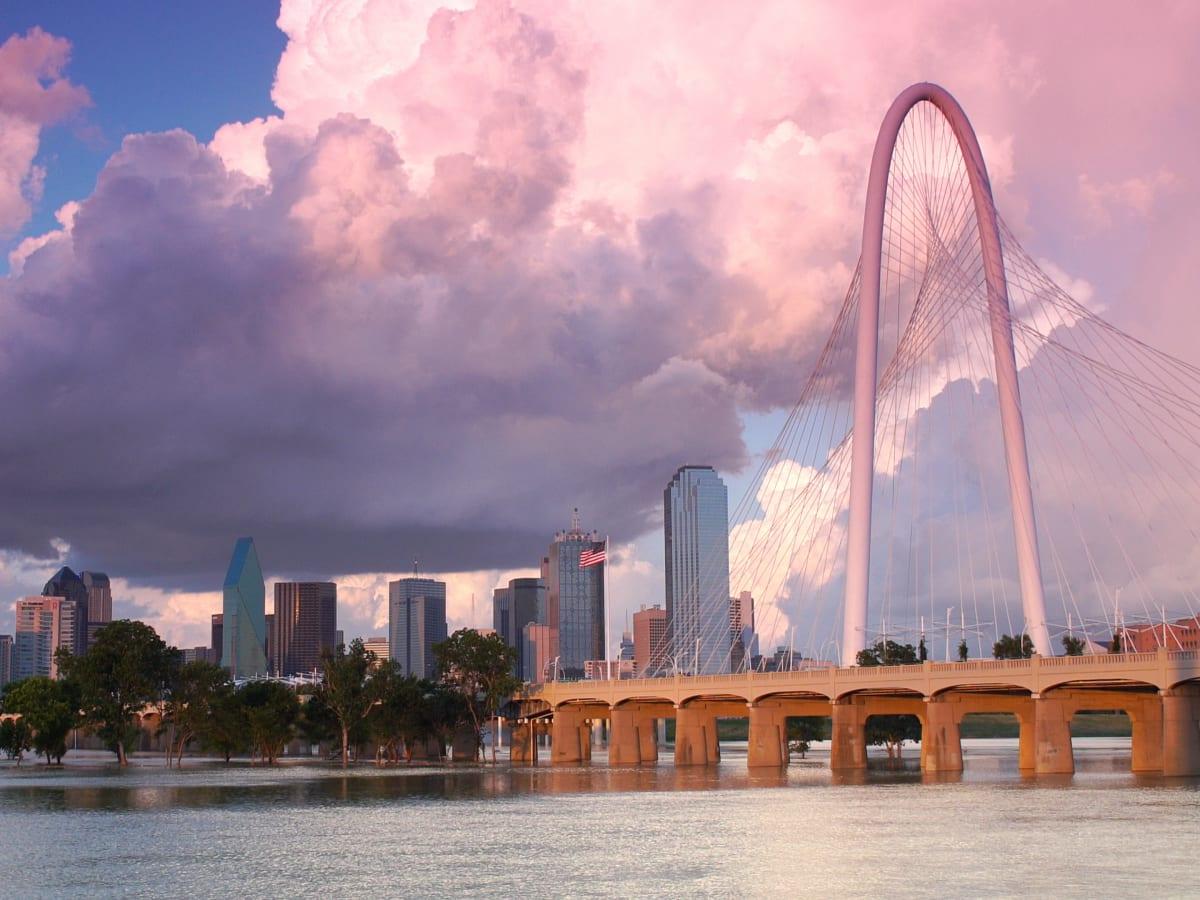 Dallas skyline Margaret Hunt Hill Bridge