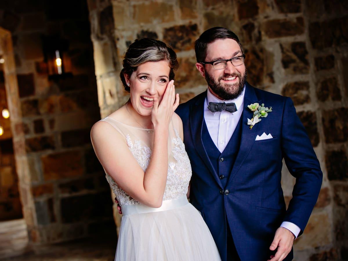 Wedding Maggie Bang and Austen Miller Fredericksburg Boot Ranch bride groom tear cry