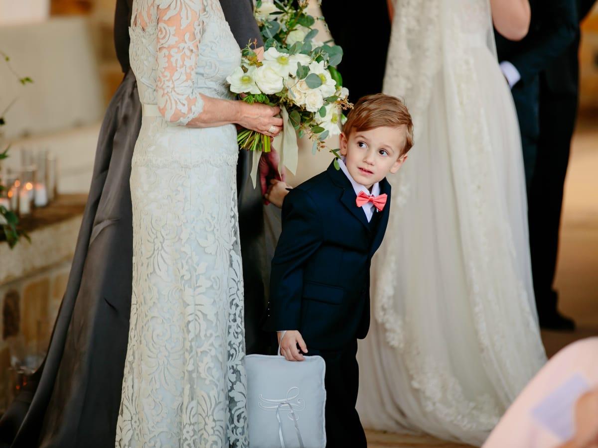 Wedding Maggie Bang and Austen Miller Fredericksburg Boot Ranch kid boy ring bearer