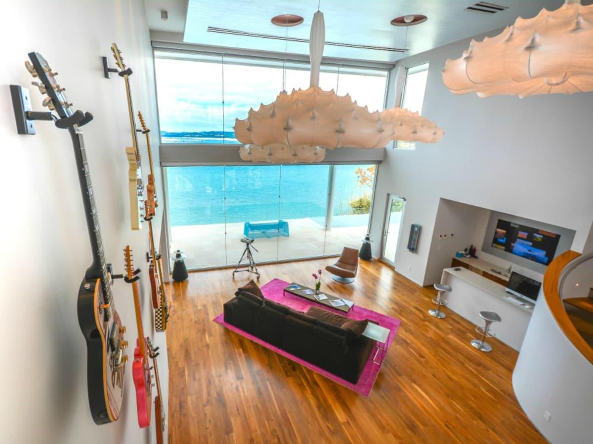 Austin house home Acqua Villa Winn Wittman Lake Travis 14515 Ridgetop Terrace 78732 living room guitars