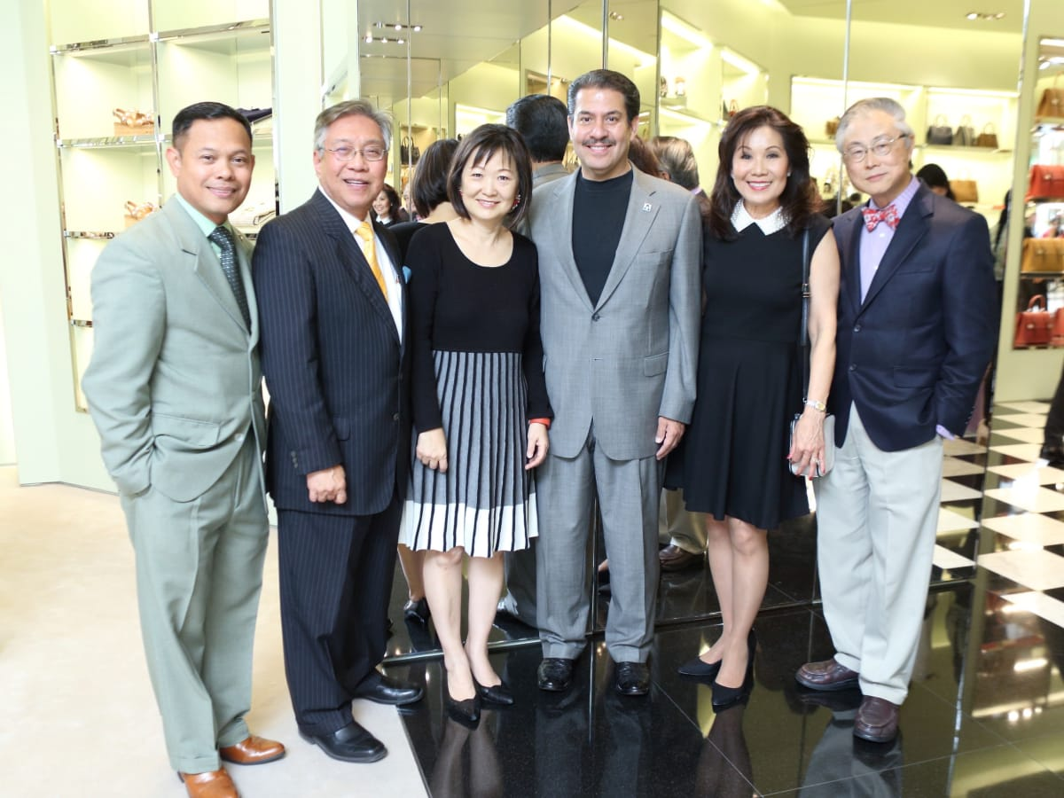 Nelvin Adriatico-Thandani, Gordon Quan, Theresa Chang, Adrian Garcia, Betty Gee, Peter Chang at APAHA kickoff party at Prada