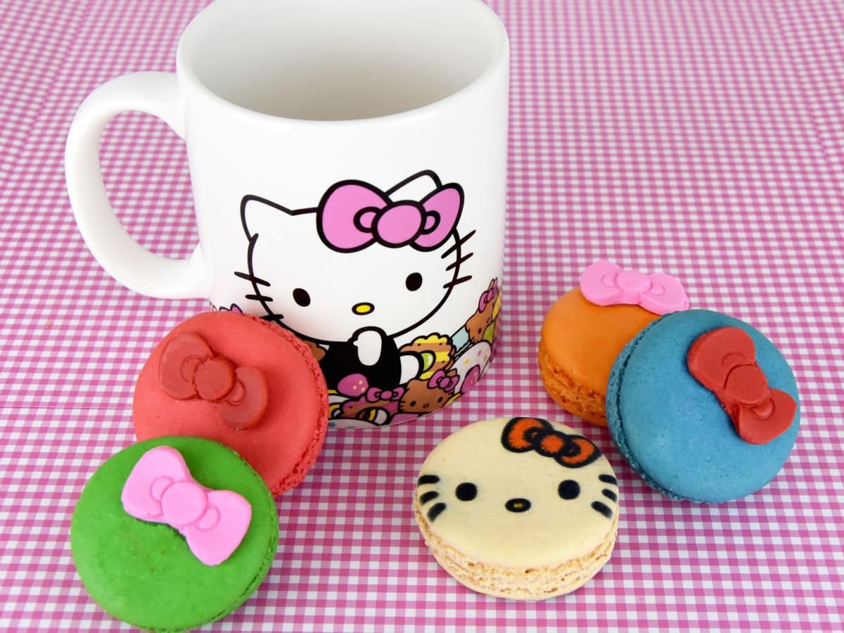 Hello Kitty Cafe truck macarons and mug