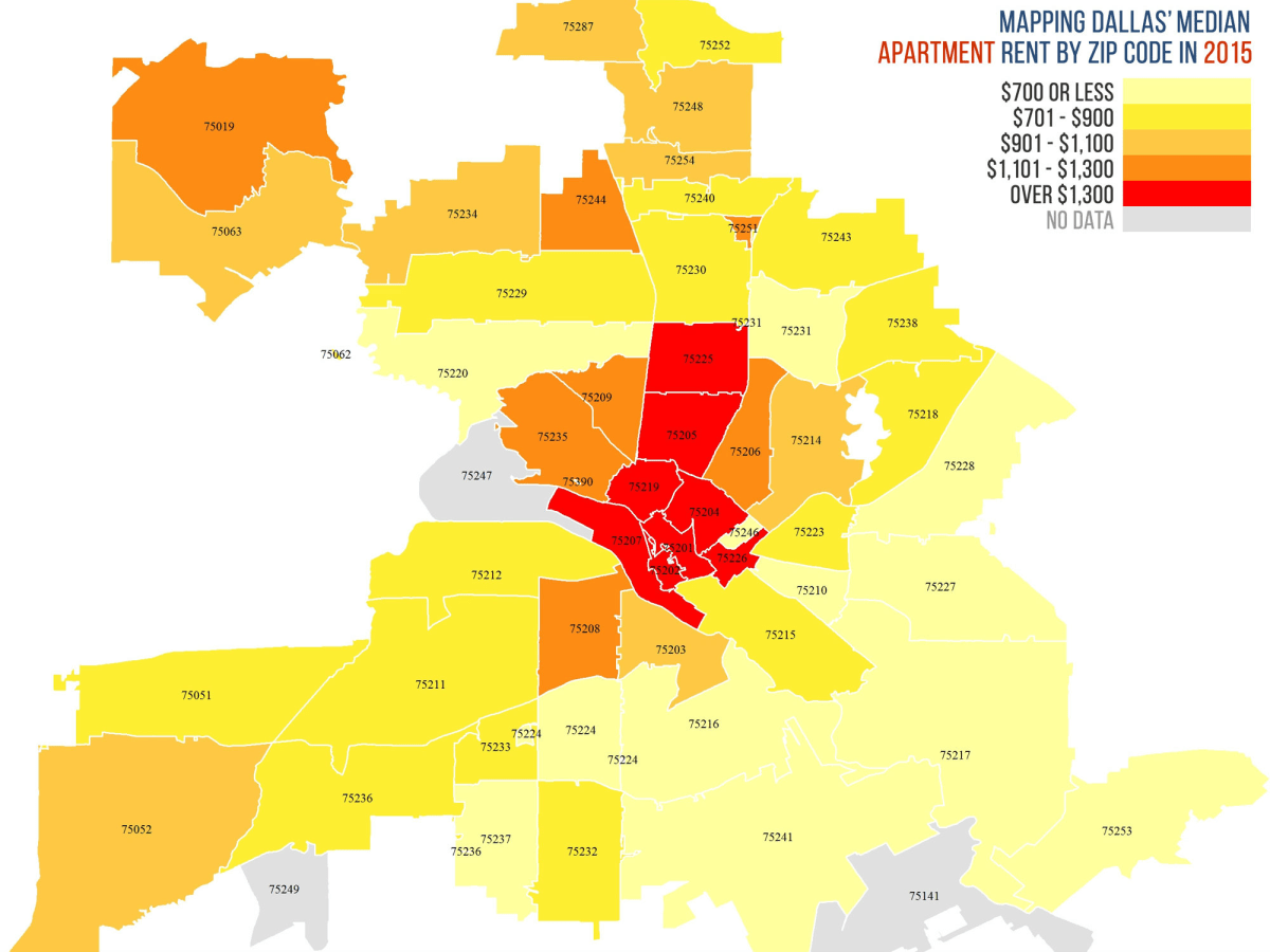 Rent heat map in Dallas