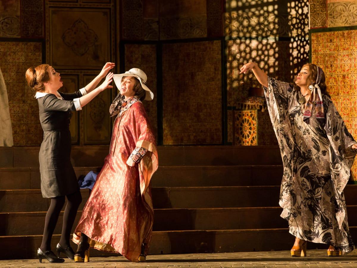HGO Marriage of Figaro, Jan. 2016. Heidi Stober, Susanna; Lauren Snouffer, Cherubino; Ailyn Pérez, Countess Almaviva