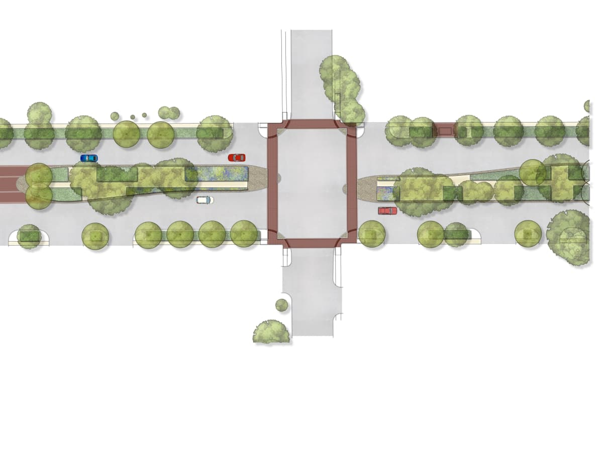 Broadway Boulevard beautification aerial view
