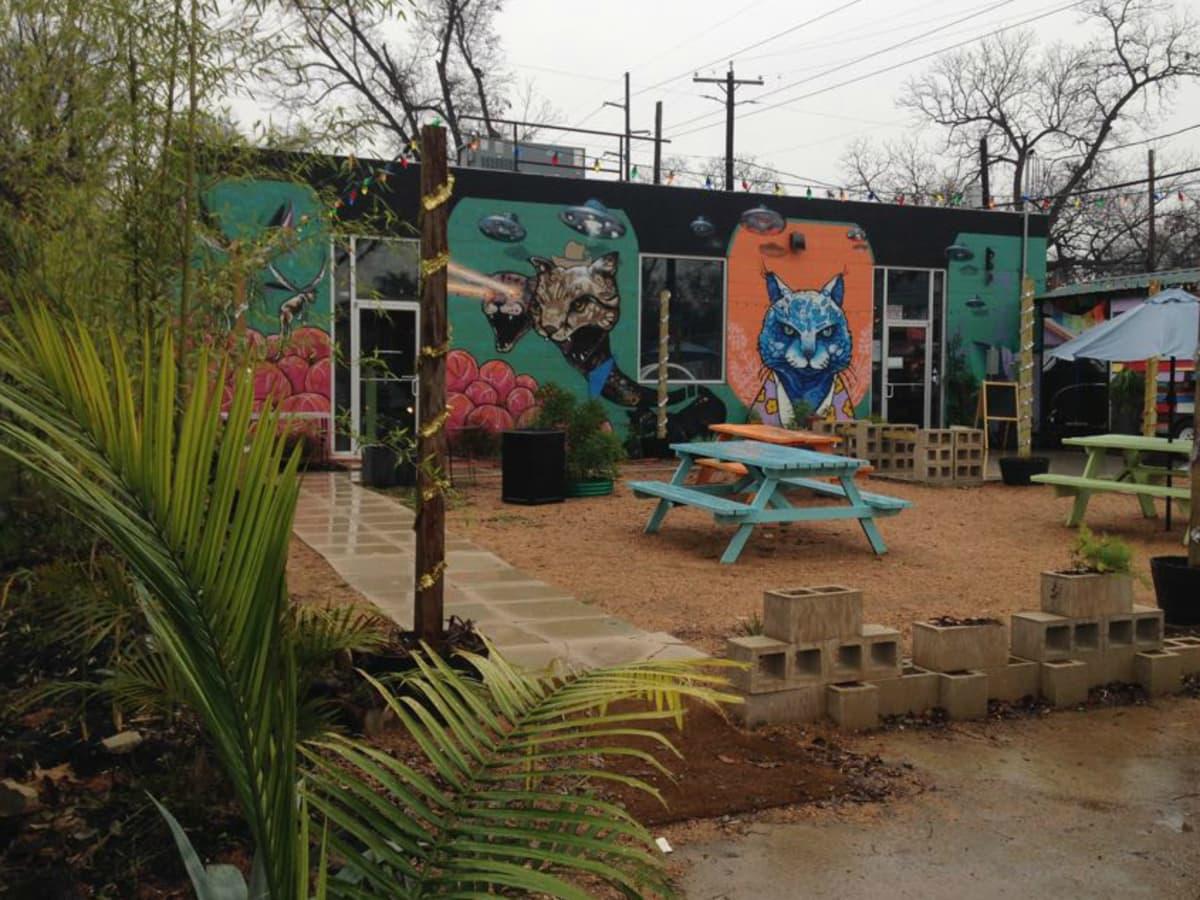 Blue Cat Cafe exterior mural