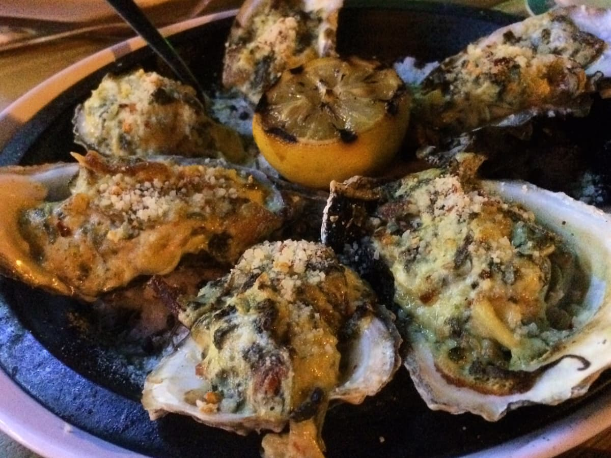 Grilled oysters at Ocean Grille & Beach Bar in Galveston
