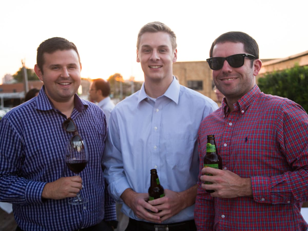 B&B Butchers terrace party Robert Hanley, Ross Patton, Jeff Marin