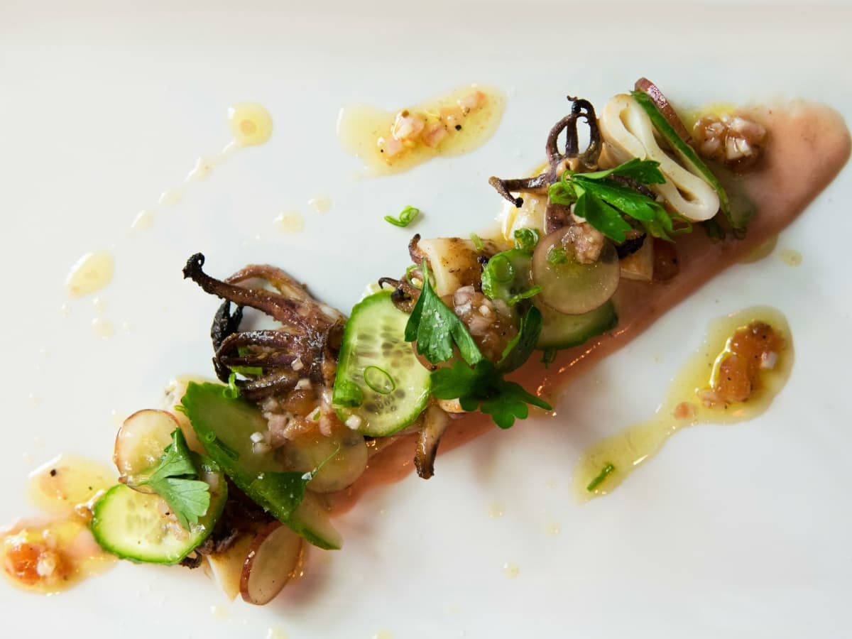 Juniper grilled squid