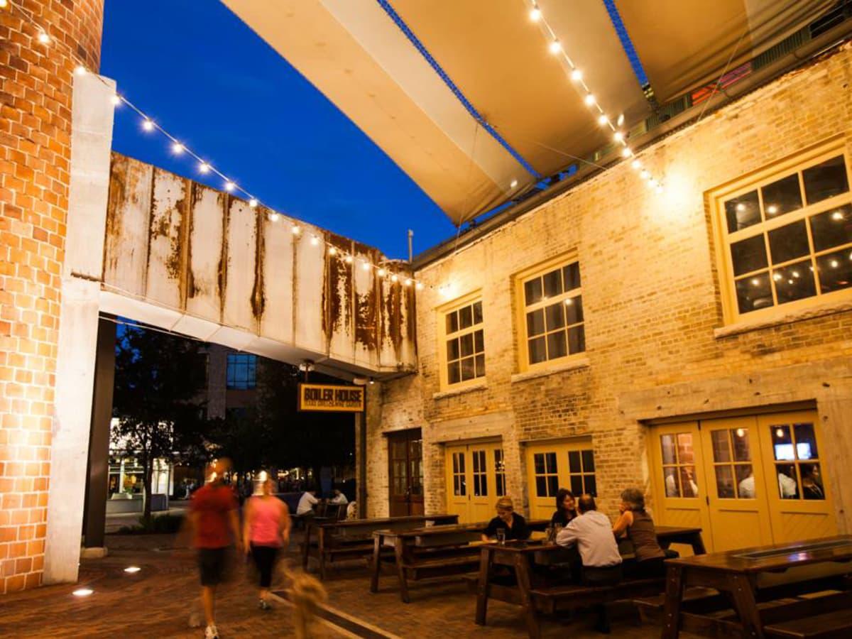 The Boiler House San Antonio Restaurant outside outdoor patio sign