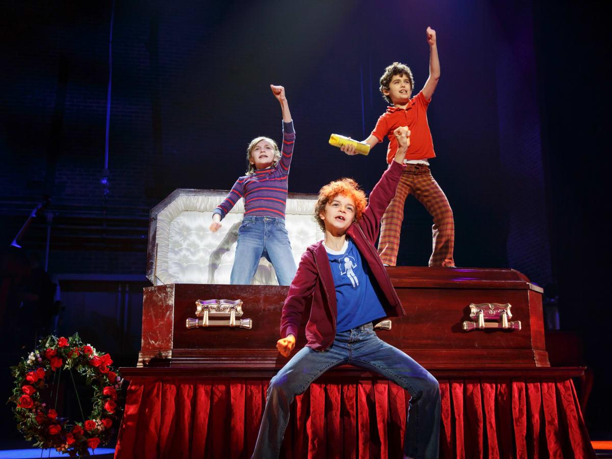 Fun Home Tour Carly Gold as Small Alison, Pierson Salvador as Christian, Lennon Nate Hammond as John