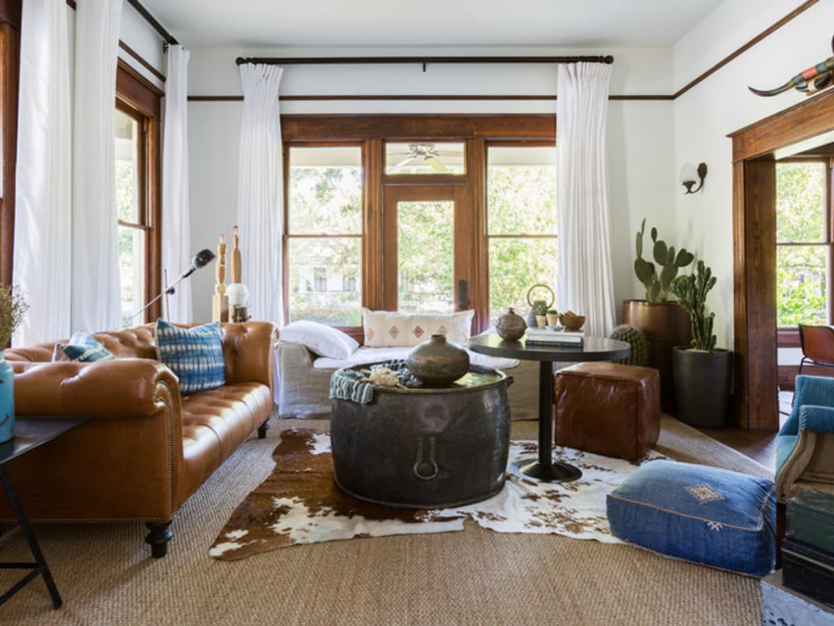 Houston, Houzz Bohemian-Chic Style Home for a New Family , June 2017, living room