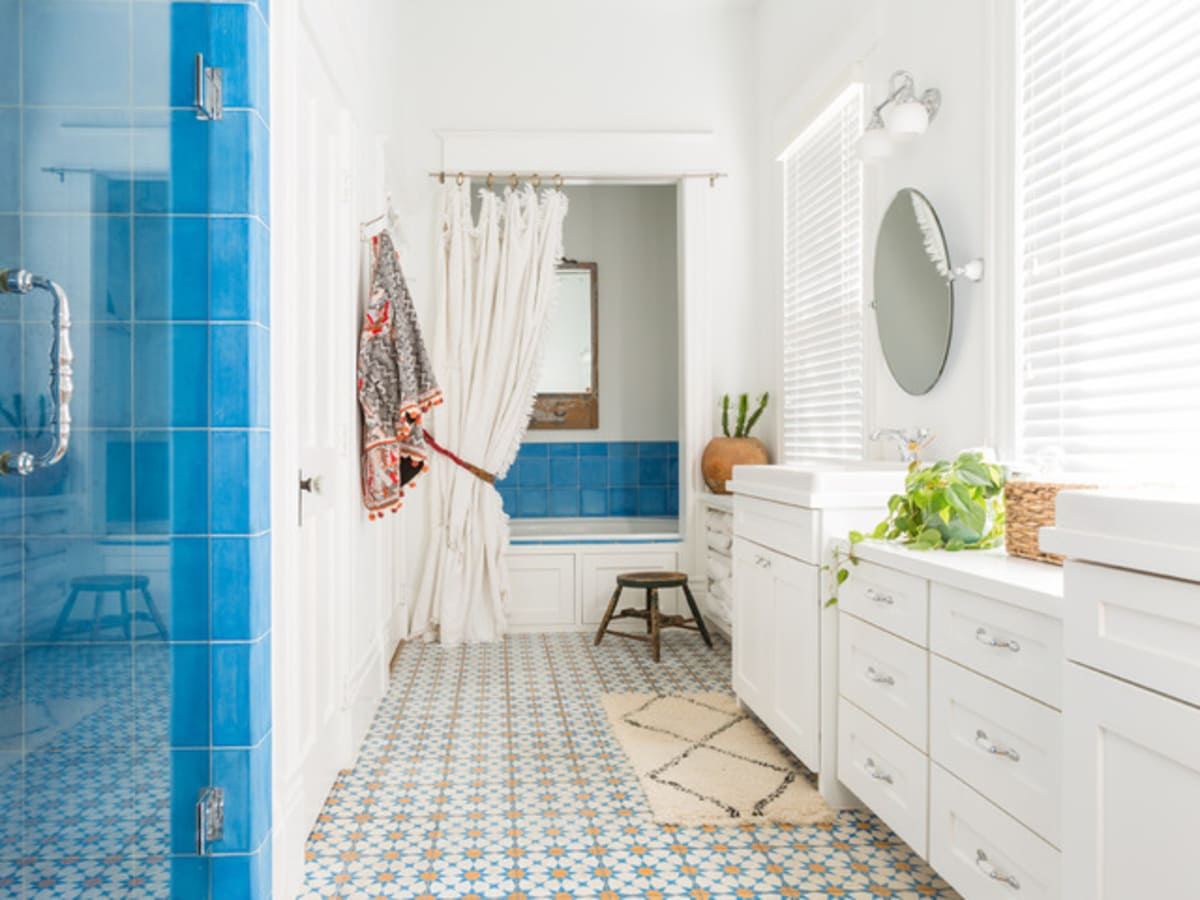 Houston, Houzz Bohemian-Chic Style Home for a New Family, June 2017, bathroom