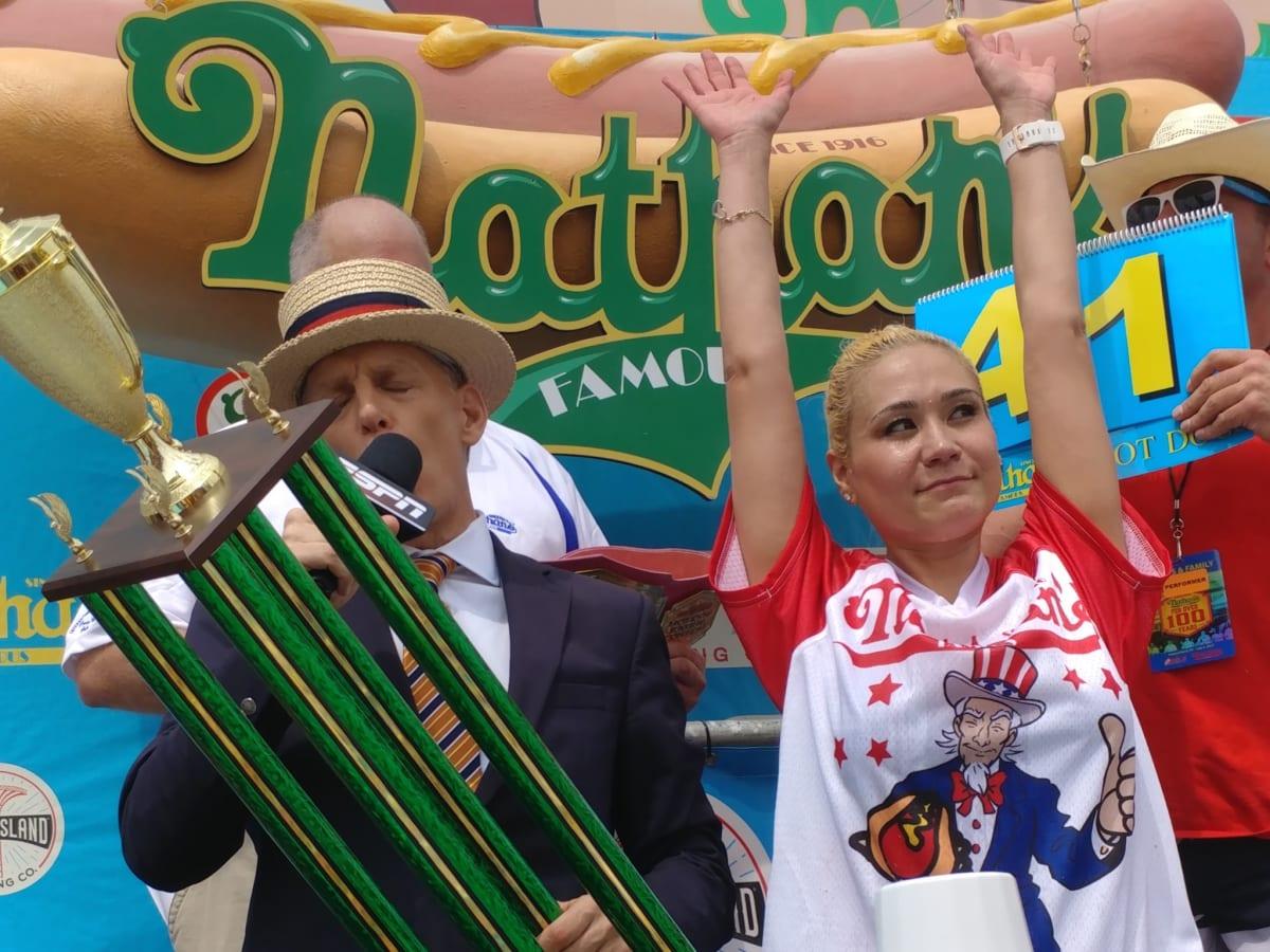 Nathan's Famous Hot Dog Eating Contest 2017 Miki Sudo female winner