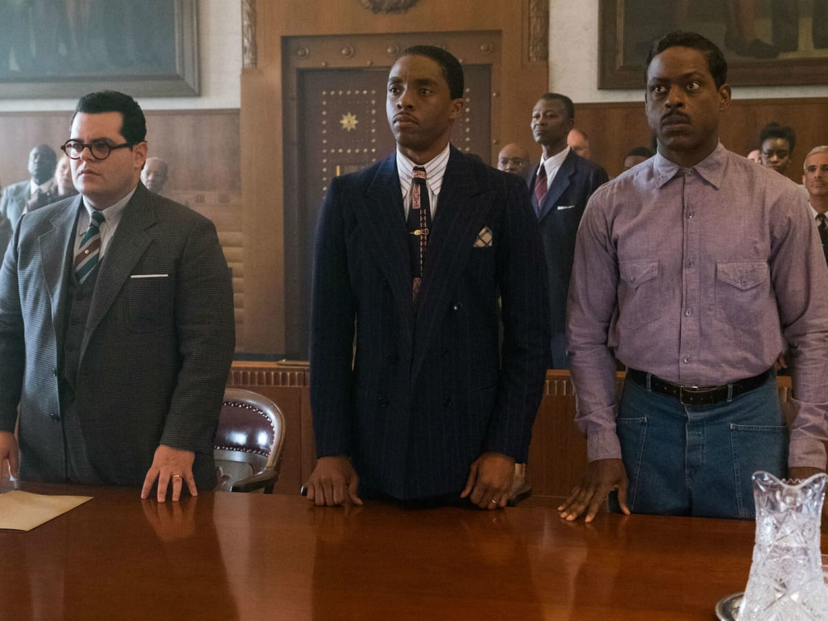 Josh Gad, Chadwick Boseman, and Sterling K. Brown in Marshall