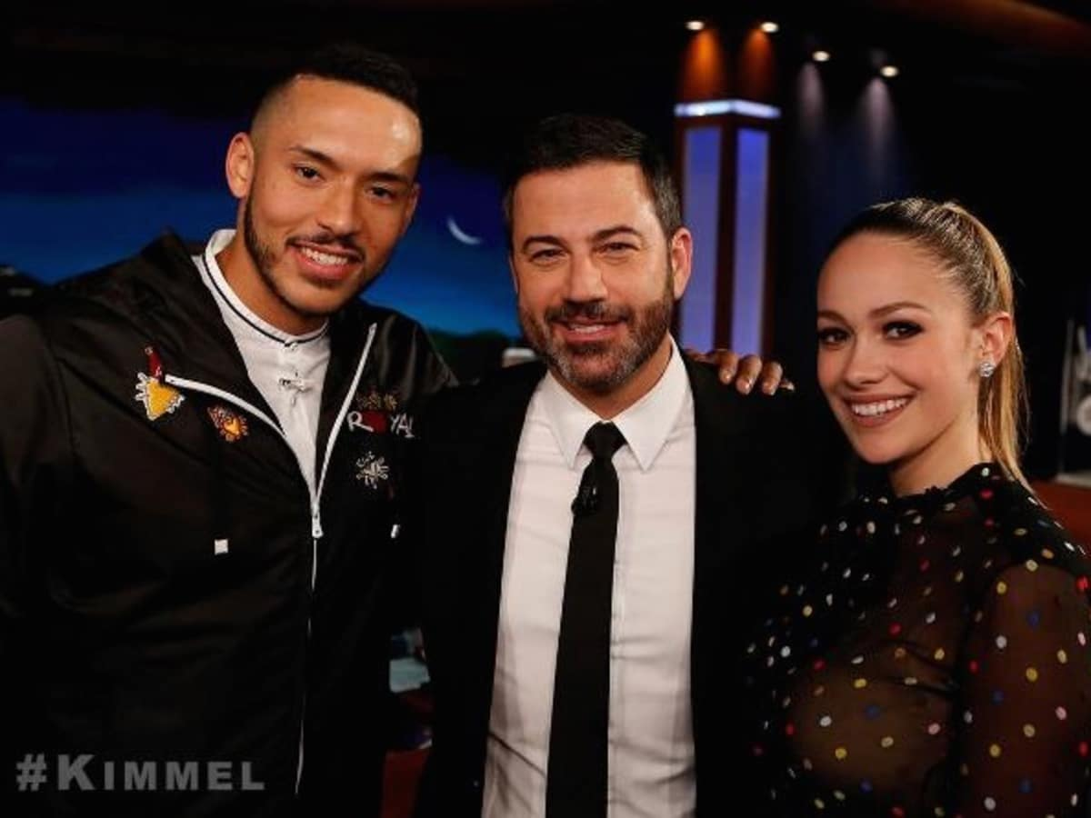 Carlos Correa and Daniella Rodriguez on Jimmy Kimmel - cropped photo