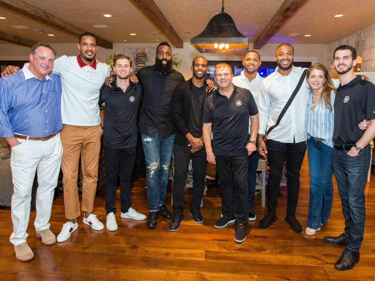 Houston, True Blue Gala, November 2017, Tad Brown, Trevor Ariza, Patrick Fertitta, James Harden, Chris Paul, Tilman Fertitta, Eric Gordon, PJ Tucker, Paige Fertitta, Michael Fertitta