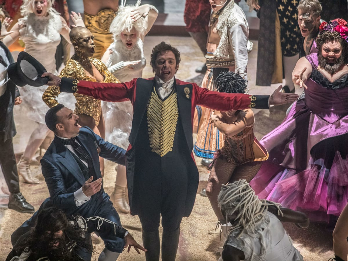 Hugh Jackman and cast in The Greatest Showman