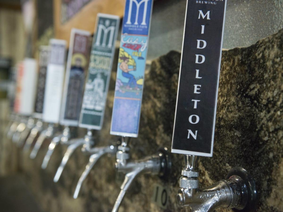 Beer taps at Middleton Brewing in San Marcos