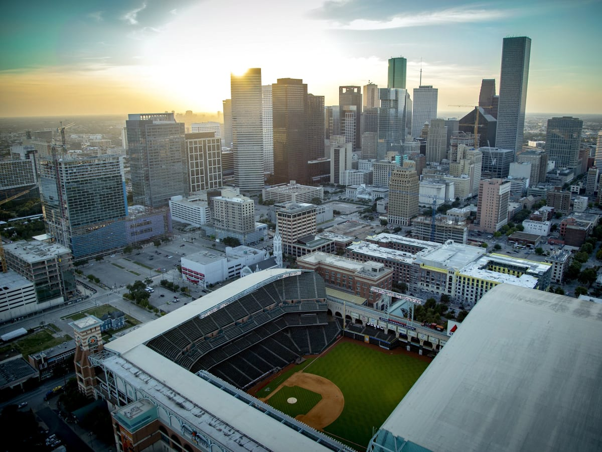 Minute Maid Park downtown aerial view