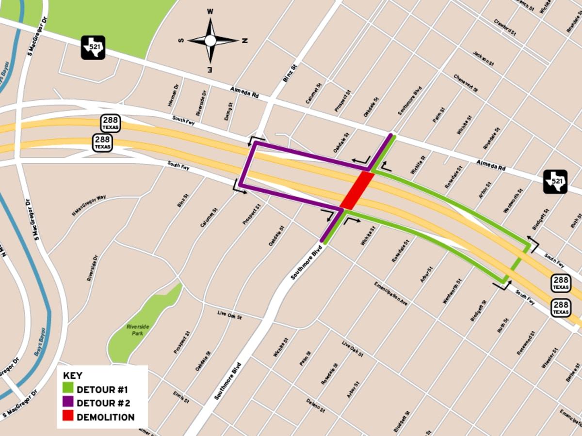 construction 288 Southmore bridge detour plan