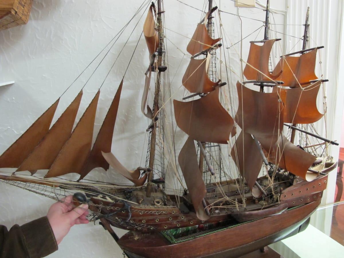 Prison ship model with secret compartment