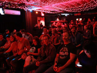 Interior crowd at the New Movement Theater improv