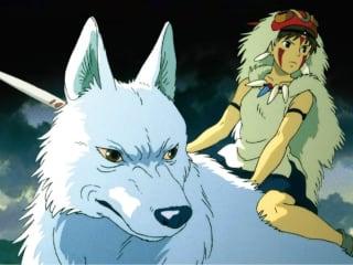 Hayao Miyazaki film Princess Monoke with wolf