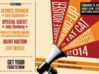flyer for Texas Observer rabble rouser fat cat schmoozefest fundraiser