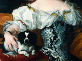 portrait of dog with woman for Blanton Museum exhibit In the Company of Cats and Dogs