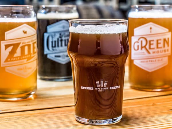 Hops and Grain Brewing Austin brewery craft beer glass lineup
