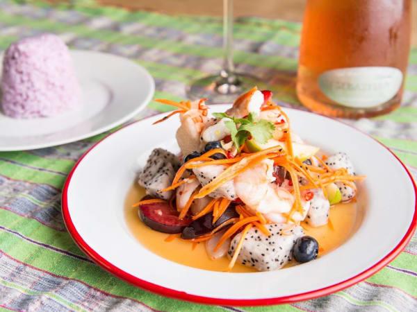 Foreign Correspondents fruit and shrimp salad