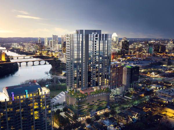 70 Rainey condo high rise development residential tower rendering downtown Austin Rainey Street