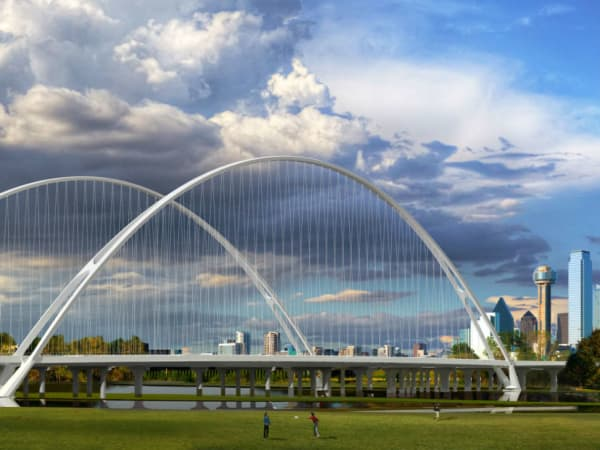 Downtown Dallas skyline with Calatrava bridge