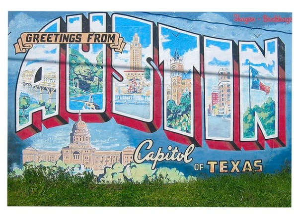 Greetings from Austin mural on South First Street