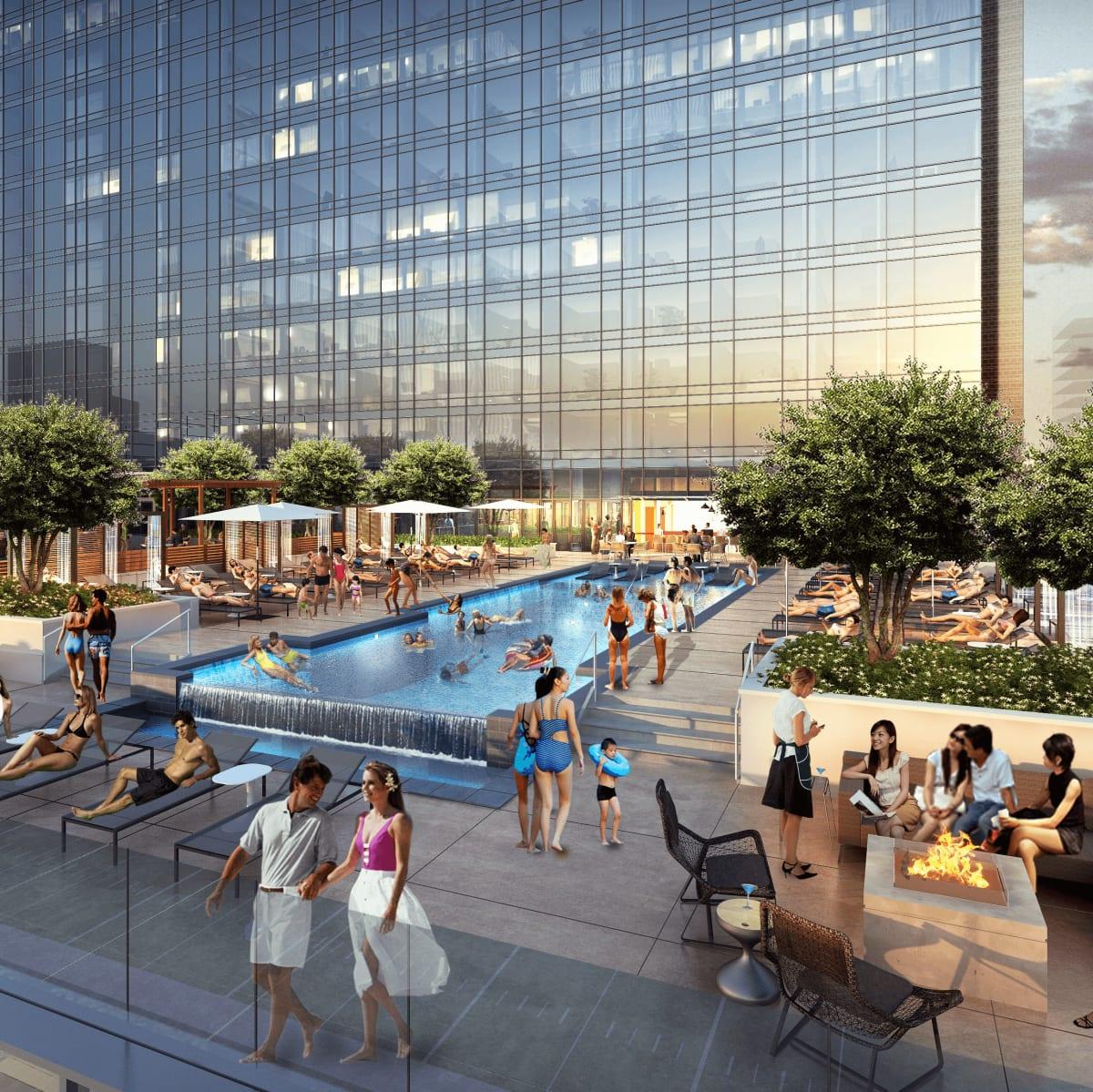 Omni Frisco hotel pool deck rendering