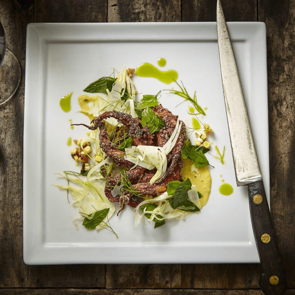 Hudson's on the Bend Austin resaurant new menu octopus