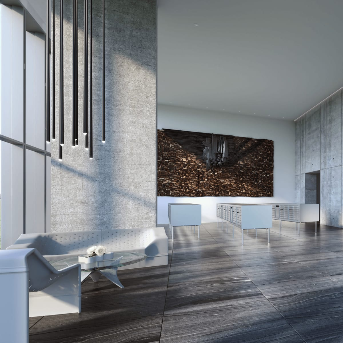 The Independent jenga tower downtown Austin lobby rendering