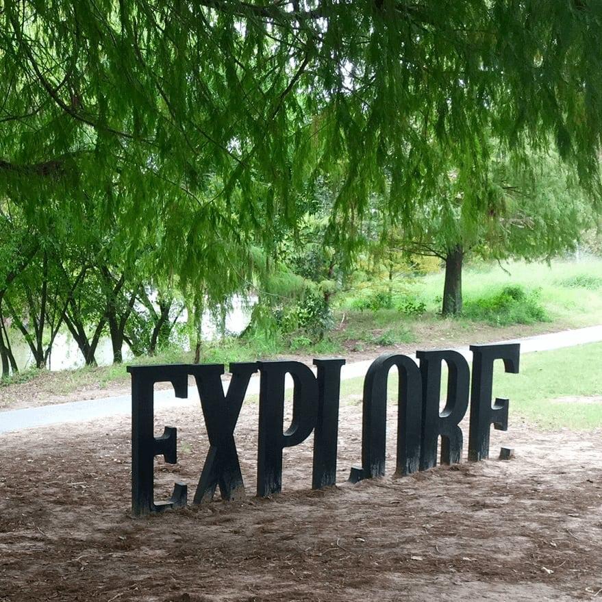 Buffalo Bayou Park Explore sculpture