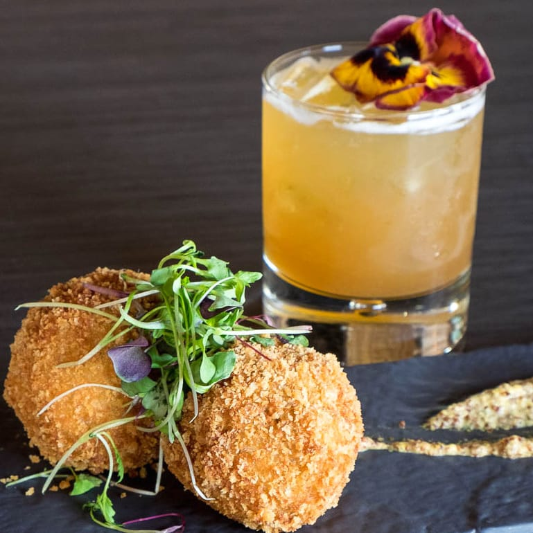 Houston_Kitchen 713_Feb 2017, boudin balls and Forbidden cocktail