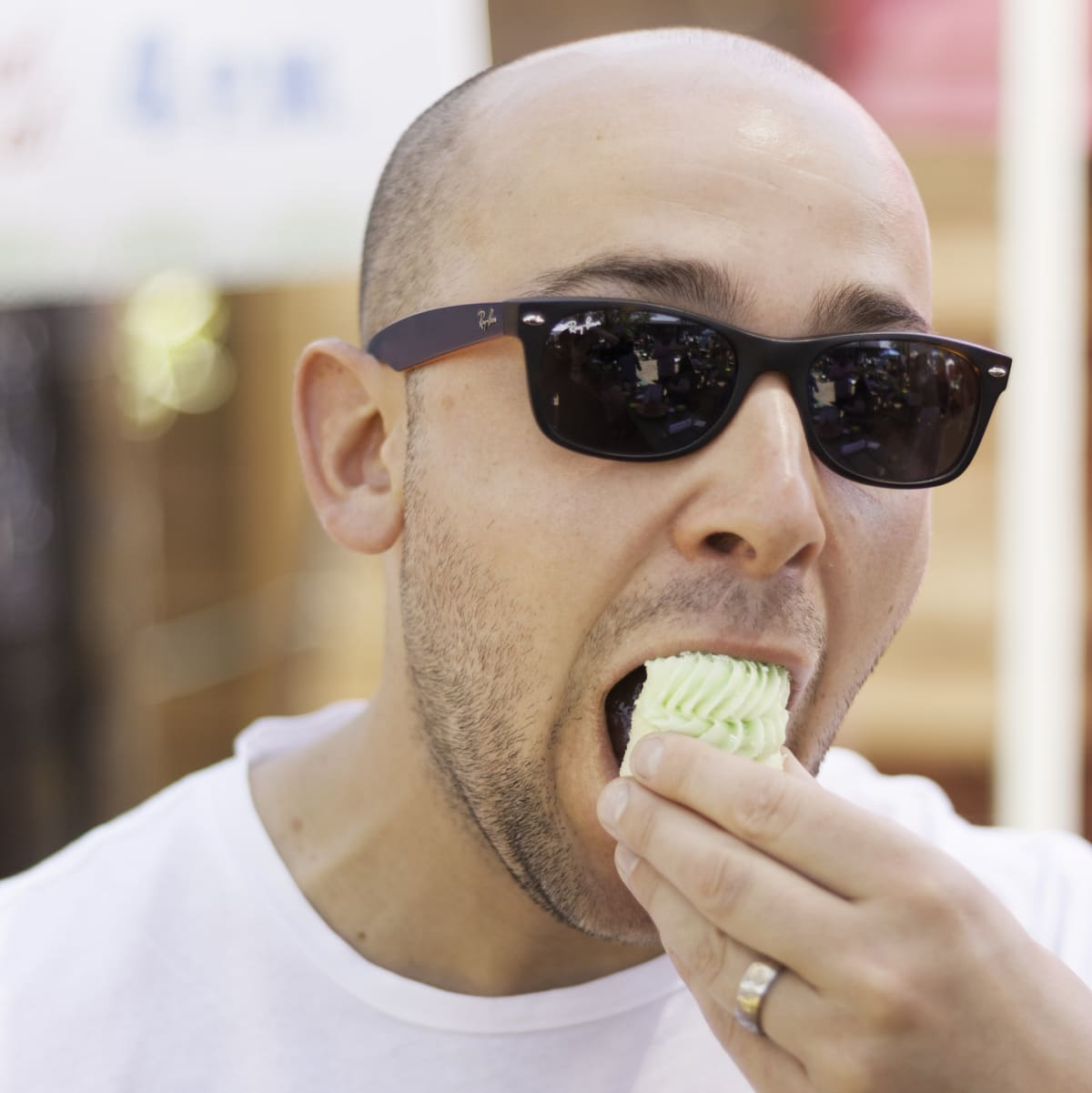 Karl Henderson samples the Margarita Cupcake from Gigi's, which won most creative recipe award at Margarita Taste-Off