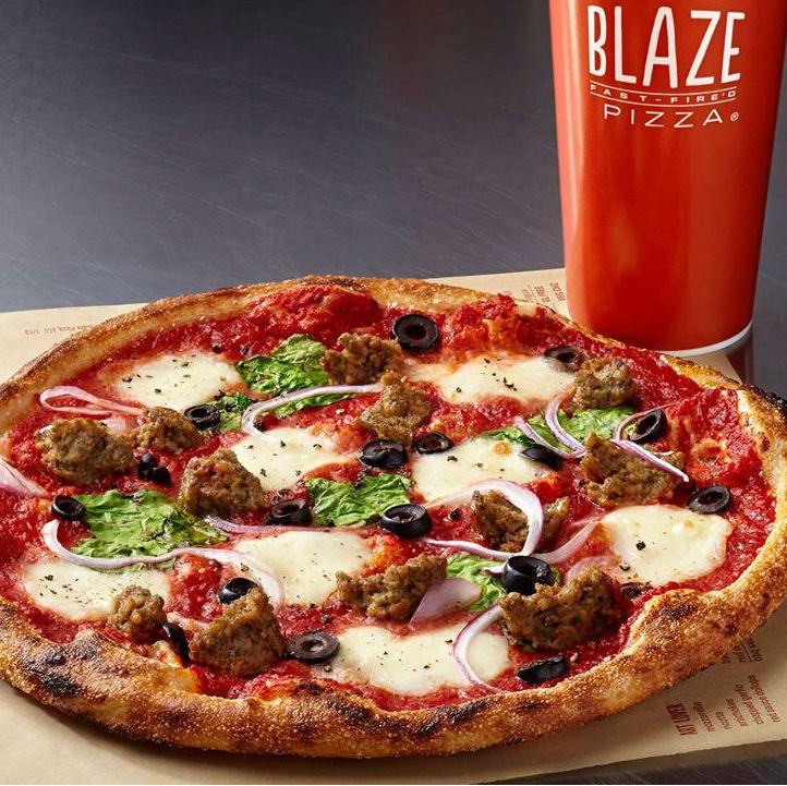 Blaze pizza with drink