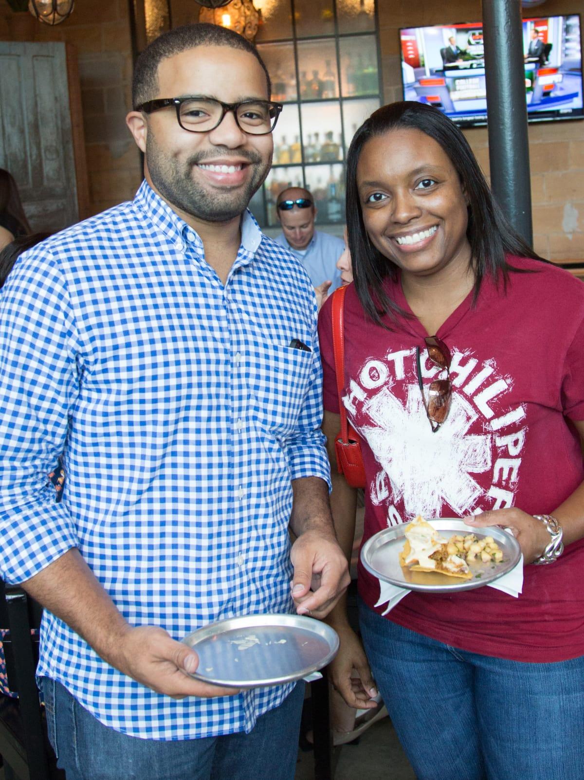 Houston, Casa de Esperanza YP Happy Hour, September 2015, Dwight Clark and Jasmyn Gibson