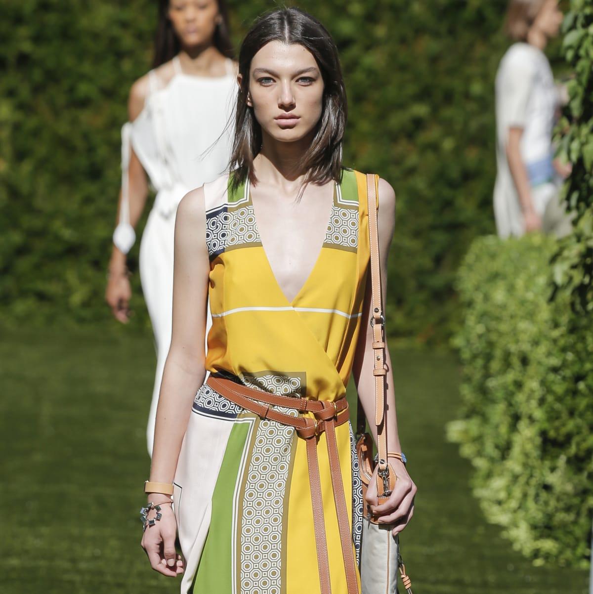 Tory Burch spring 2018 look 5 scarf-print silk satin dress