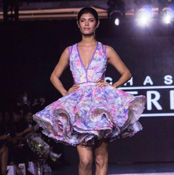 Chasity Sereal floral dress at New York Fashion Week