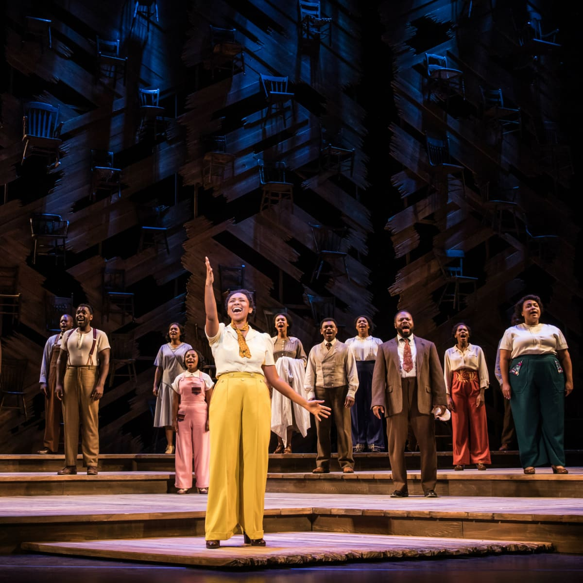 Adrianna Hicks (Celie) and the North American tour cast of The Color Purple