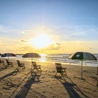 Galveston beach with umbrellas